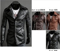 2014 men'sleather jacket Korean catwalks shall Slim leather jacket PU (black, brown) high quality M-XXL