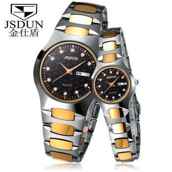 Classical JSDUN Analog Date Day Display Watch Tungsten Steel Band Steel Case Fashion Quartz Women Men's Dress Wrist Watch 6158