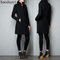 Haoduoyi black woolen outerwear overcoat trench zipper style black woolen women's trench 6