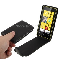 Retail or Wholesale Pure Color Vertical Flip Leather Mobile Phone Case for Nokia Lumia 520 (Black)