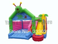 Lovely insects slide castle hourse  high quality inflatable moonwalk house with stairs and slide bouncy castle
