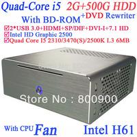 Quad core i5 computer Windows 7 6MB cache Virtualization Technology Intel VT Turbo Boost Intel HD Graphic 2500 2G RAM 500G HDD