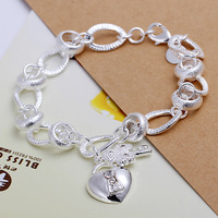 Hot Sale! Cheap Handmade 925 Silver Fashion Jewelry,The Heart Lock And Key Bracelet For Girls+Free Shipping
