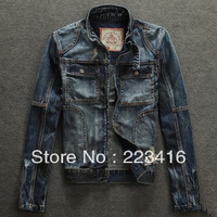 New men motorcycle jeans jacket   do old daity with hole jeans jacket denim biker jeans plus size wholesale slim fit jacket