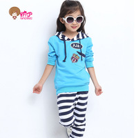 Free shipping Children's clothing female child autumn 2013 medium-large cotton stripe child sports casual set