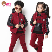 Free shipping Children's clothing set 2013 autumn and winter sports casual set