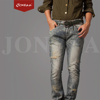 Joneaa Jeans True Brand Jeans Original Design Denim Cotton Blue men fashion rip hole jeans Hip hop free shipping Luxury quality