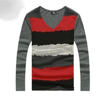 2013 Free Shipping  fashion mens t shirts 100% cotton casual long sleeve t shirts high quality slim men's t shirt