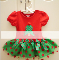 2013 new Christmas New Year red dress baby girls short sleeve dress