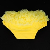 Free Shipping Yellow Baby Girl Ruffle Panties Bloomers Diaper Cover S