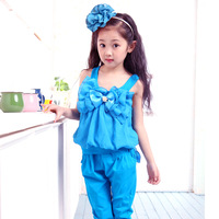 Free shippping Children's clothing female child summer 2013 medium-large child spaghetti strap bow harem pants sports set