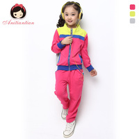 Free shippping Autumn children's clothing female child autumn 2013 autumn child baby color block candy color sports set