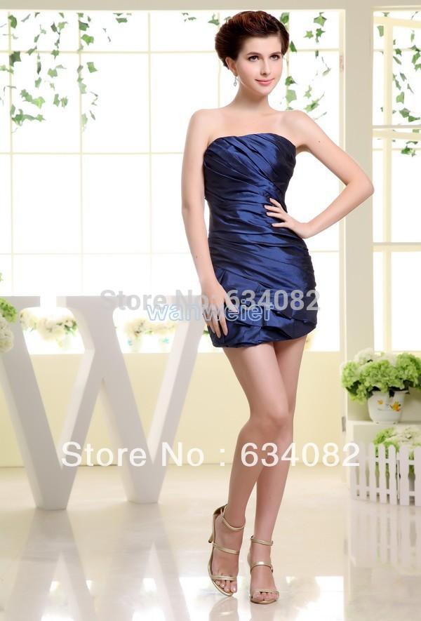 Yes 2014 Real Scoop Cheap Royal Blues free Shipping Best Selling Tube Ladies Fairy Tale Formal Taffeta Sheath Bridesmaid Dresses(China (Mainland))