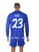 2013 2014 Mens New Cheap Real Madrid #23 isco Away Blue Long Sleeve Football Sports Jerseys,Spain Club Team Soccer Uniforms Set