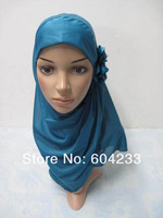 FB0805 hot popluar fashion arab hijab one flower islamic headgear muslim hijab,assorted colors with wholesale free shipping