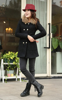 2013 winter long section of thick cotton solid color plus female raccoon fur collar wool coat woolen coat free shipping 633