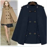 2013 Women's Fashion Wool Poncho Coat Cloak Woolen Overcoat British Style Double Breasted Woolen Outerwear  ZX0323