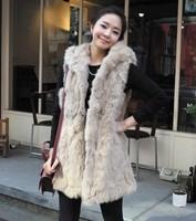 Free Shipping Winter New Faux Rabbit Hair cape vest thermal Warming Ladies' Fur vest outerwear(Black+Beige+S/M/L)130904#3