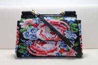 New cross stitch designer brand portable cover handbag Embroidery handmade flower shoulder bag real genuine leather free ship