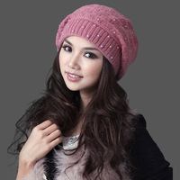 Female autumn and winter hat winter hat thickening double layer thermal sheep knitted hat