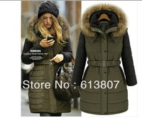 Free shipping winter warm new European and American women's padded jacket thick and long sections