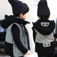 Small 2013 winter handsome male child hooded vest children's clothing thermal vest