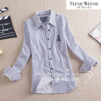 Free Shipping 2013 autumn women's fashion navy style 100% cotton stripe long-sleeve shirt female
