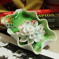Buddhism supplies ceramic lotus perfume incense plate incense holder incense stove green