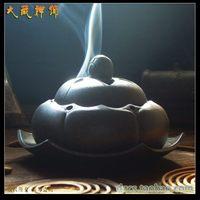 Buddhism supplies purple ceramic lotus disk incense burner lying hong establishment of the hong sachemic