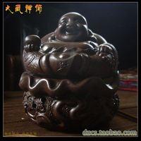 Buddhism supplies purple ceramic lucky gathergold maitreya buddha incense burner plate line sachemic ovens