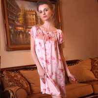 Silk mulberry silk one-piece dress silk sleepwear nightgown summer short-sleeve lounge