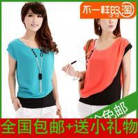 2013 summer women's fashion patchwork loose plus size T-shirt short-sleeve top chiffon shirt