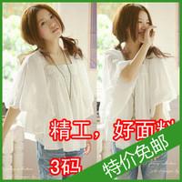 2013 mm summer women's fashion loose plus size batwing shirt white lace top short-sleeve chiffon shirt