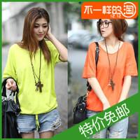 2013 summer women's casual V-neck loose plus size basic shirt top short-sleeve T-shirt