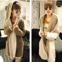 2013 autumn and winter women thermal plush fleece overcoat thickening with a hood sweatshirt outerwear cardigan female