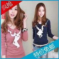 2013 spring and autumn school wear plus size slim o-neck long-sleeve T-shirt basic shirt top female