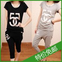 2013 summer women's fashion plus size T-shirt short-sleeve casual pants sportswear set
