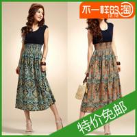 2013 summer women's chiffon one-piece dress bohemia national trend full dress long design thin skirt