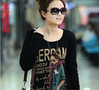 2013 mm autumn plus size clothing o-neck slim basic shirt top long-sleeve T-shirt