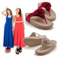 Irsoe summer flower platform flip-flops beach casual shoes