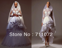 Attractive A Line Luxury Tulle Sexy Formal High Collar Long Train Detachable White Royal Wedding Dresses With Long Sleeves