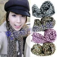 Free shipping 2 pieces/lot fashion star woman spring summer fall classic leopard print Polyester chiffon silk small scarf  2013