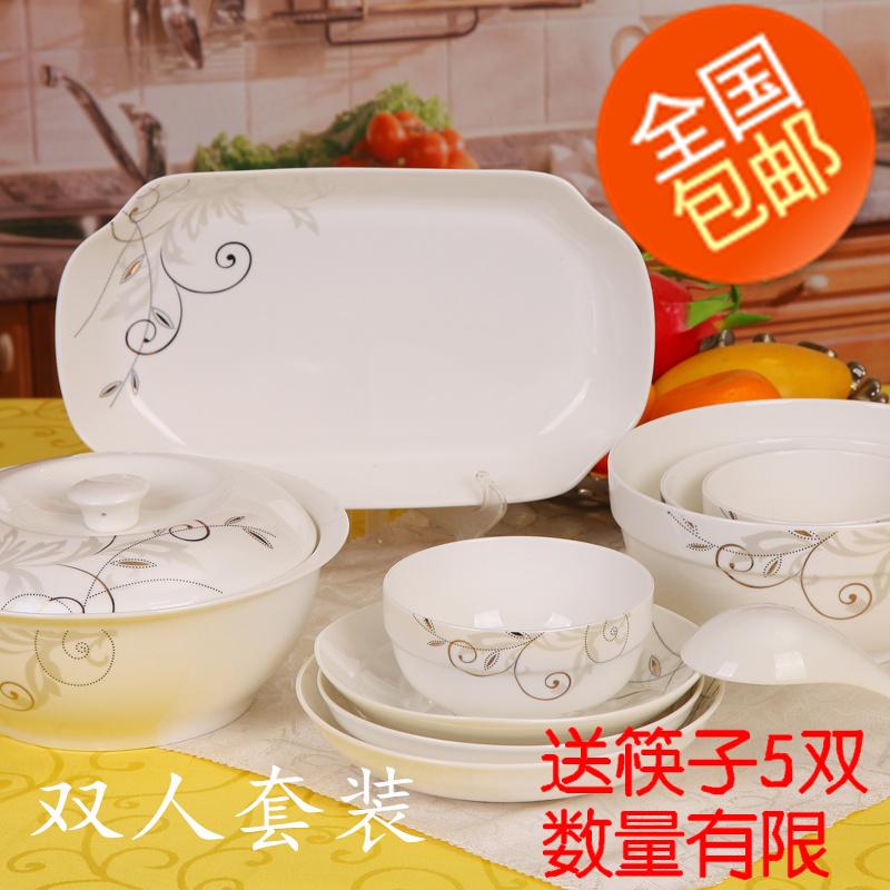 Free shipping Bone china ceramics dinnerware set plate rice bowl instant noodles bowl spoon soup bowl plate(China (Mainland))