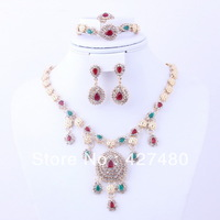 2013 New fashion 4pcs mix color zircon crystal jewelry set nice costume jewelry set high quality gold plated jewelry set