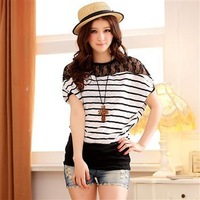 3103 plus size comfortable cotton classic stripe batwing sleeve lace short-sleeve plus size top