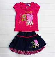 New Arrival 100% cotton summer baby girls peppa pig clothing suits kids Peppa pig clothes peppa t shirt + skirt 2pcs Sets