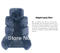Free Shipping (DHL,FEDEX,EMS) 1 Set (4pcs) Luxurious Pure Wool AUS Sheepskin Car Seat Covers -Gray Blue