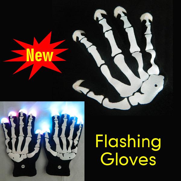 Novelty LED Gloves New LED Rave Finger Lighting Blink Flashing Gloves for Dance Party Free Shiping(China (Mainland))