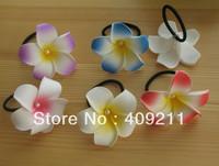 NEW ARRIVAL ! 7-8cm KL809 FREE SHIPPING +300PCS 7-8 Foam plumerua w white pearls & Elastic Holder+ MIXED COLORS  HAWAIIAN Flower