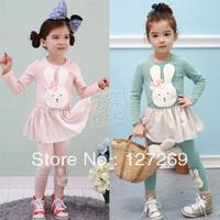 2013 Autumn New Girls Cute Dress+Leggings 2pcs Set Long-sleeve Dress Cute Rabbit Pattern Free Shipping